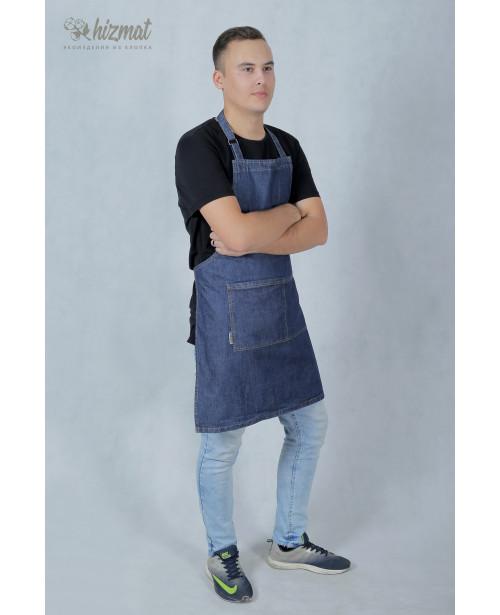 Фартук джинс классик тёмно-синий для продавца
