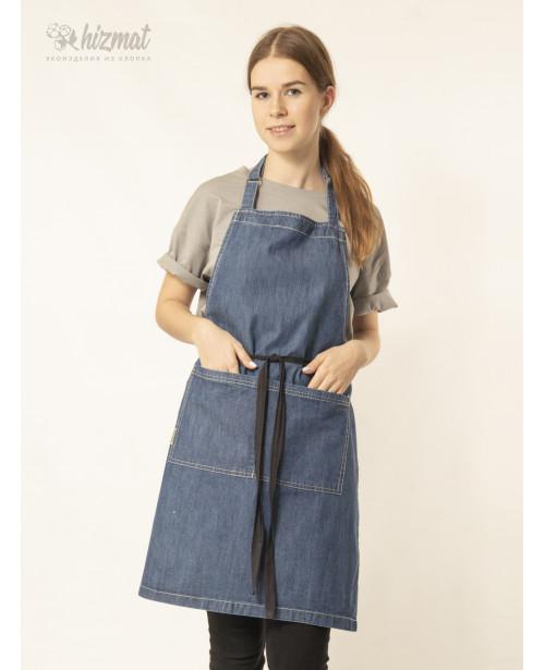 Фартук джинс классик голубой для продавца