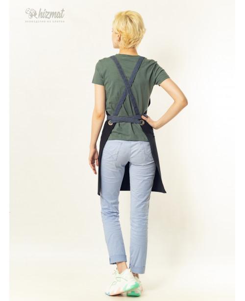 Eco unique black textile belt jeans with buttons