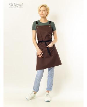 Eco unique brown textile belt black with carabiner