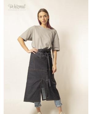 Фартук джинсовый тёмно-синий поясной длинный для официанта в Санкт-Петербурге