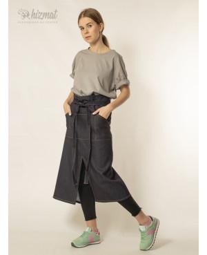 Фартук джинс тёмно-синий поясной длинный  для официанта
