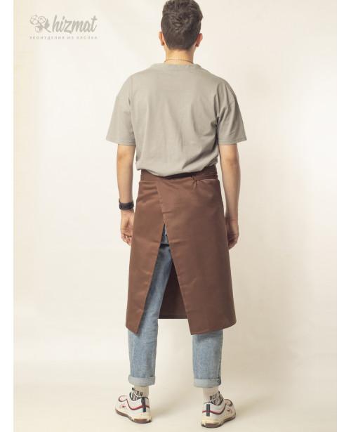 Фартук смесовый поясной средний коричневый для продавца