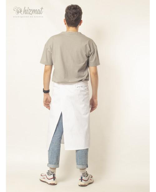 Фартук смесовый поясной средний белый для продавца