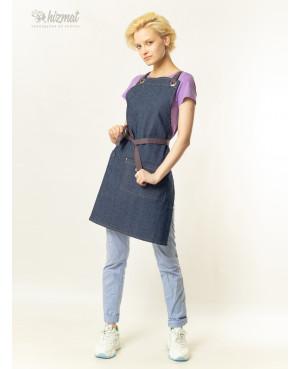 Eco unique jeans textile belt grey with buttons