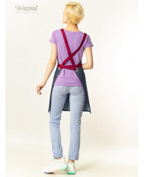 Eco unique jeans textile belt burgundy with buttons