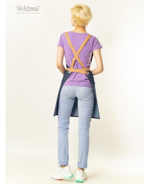 Eco unique jeans textile belt beige with buttons