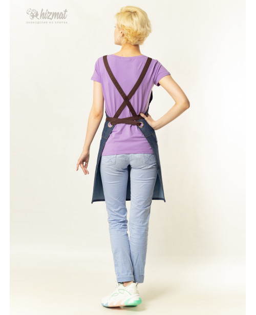 Eco unique jeans textile belt brown with buttons