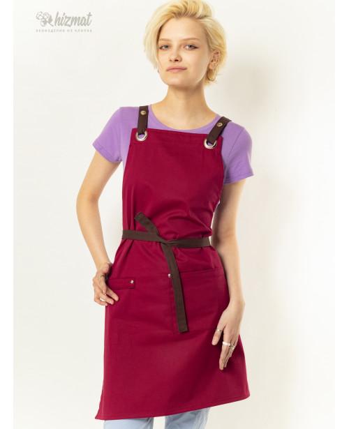 Eco unique burgundy textile belt brown with buttons