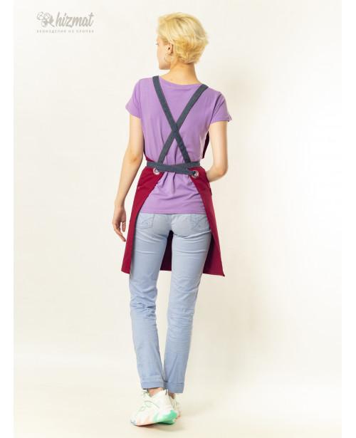 Eco unique burgundy textile belt jeans with buttons