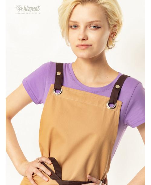 Eco unique beige textile belt brown with buttons