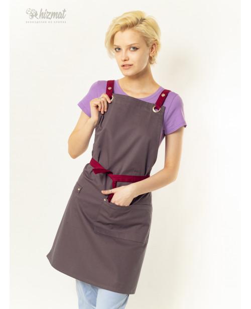 Eco unique grey textile belt burgundy with buttons