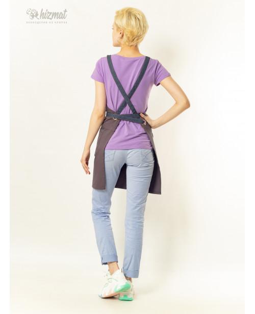 Eco unique grey textile belt jeans with buttons