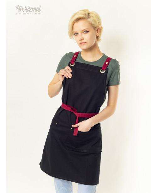 Eco unique black textile belt burgundy with buttons