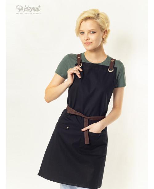 Eco unique black textile belt brown with buttons
