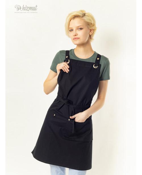 Eco unique black textile belt black with buttons