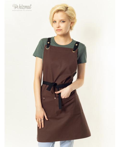 Eco unique brown textile belt black with buttons