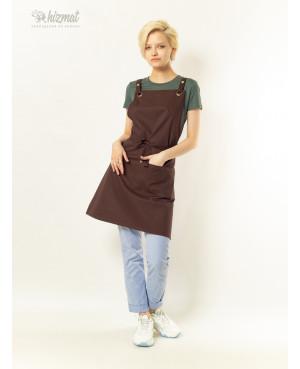 Eco unique brown textile belt brown with buttons
