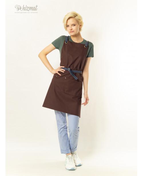 Eco unique brown textile belt grey with buttons